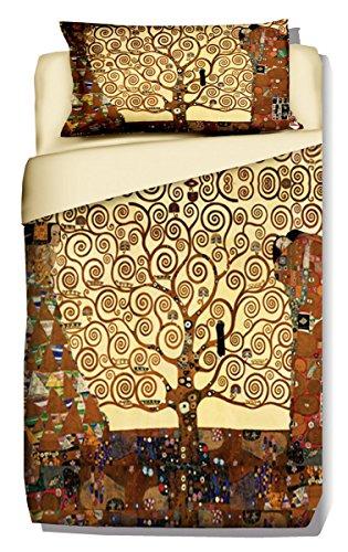 copripiumino singolo 240x155 Deco Italia Set Copripiumino copriletto Klimt - Albero della Vita 100% Cotone   Singolo 155 x 240 + Federa 50 x 80 cm