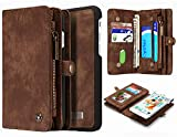 iPhone 6 Plus iPhone 6S Plus Detachable Wallet Case, Hynice Leather Purse for Women with Card Slots Zipper Pocket Removable Shockproof Shell Cover for iPhone 6 Plus 6S Plus 5.5(Brown008)