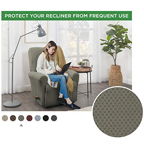 Maytex 4300319 Pixel Ultra Soft Stretch 4 Piece Recliner Arm Furniture Cover Side Pocket, Dusty Olive Green Chair Slipcover