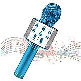 Micrófono para niños, Micrófono para niños para cantar, Micrófono inalámbrico Bluetooth con altavoz, Máquina de karaoke para niños con micrófono portátil (blue)