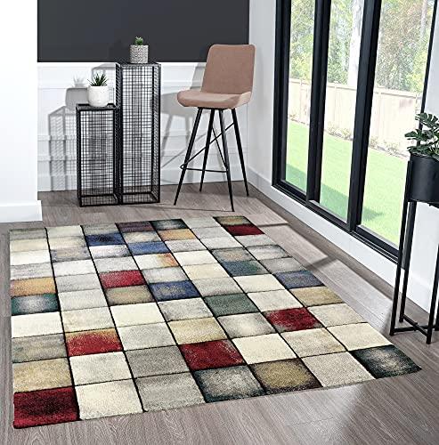 the carpet Monde Deluxe Tapis de salon à poils courts, multicolore, bleu, blanc, rouge, gris, or, motif carré 160 x 230 cm