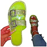 FeelFree+ Zapatillas de Plana Verano para Mujer Diamantes Imitación de Fondo Suave Gran Tamaño Sandalias y Zapatillas de Cómodo Playa Cristalina Ocasional Moda Mujeres Zapatos Deslizadores