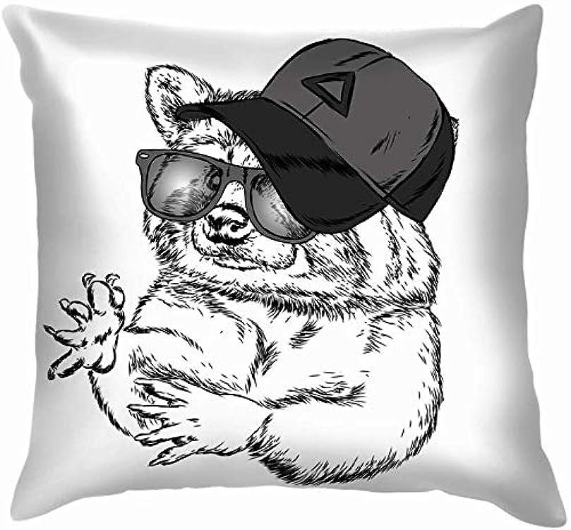 両方政策レパートリーかわいいアライグマキャップメガネ動物野生動物スロー枕カバーホームソファクッションカバー枕ギフト45×45センチ