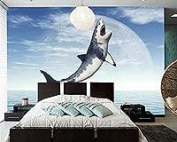 カスタムサメ海空動物3D写真壁紙リビングルームテレビ壁キッチン寝室パペル壁画壁紙家の装飾-200x140cm