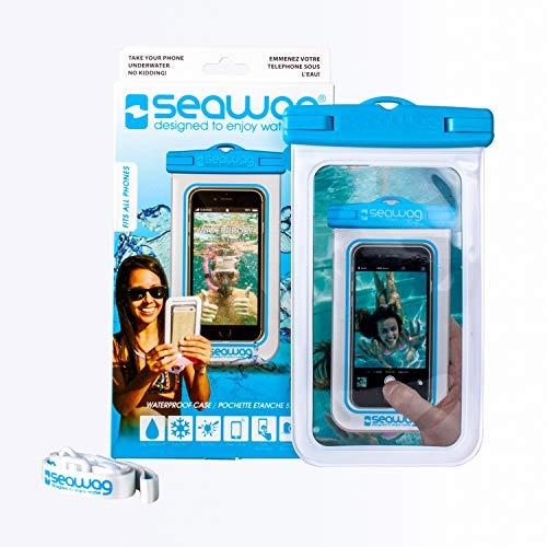 SEAWAG FUNDA 100% IMPERMEABLE Y SUMERGIBLE PARA SMARTPHONE - UNIVERSAL (Blanco/Blu)