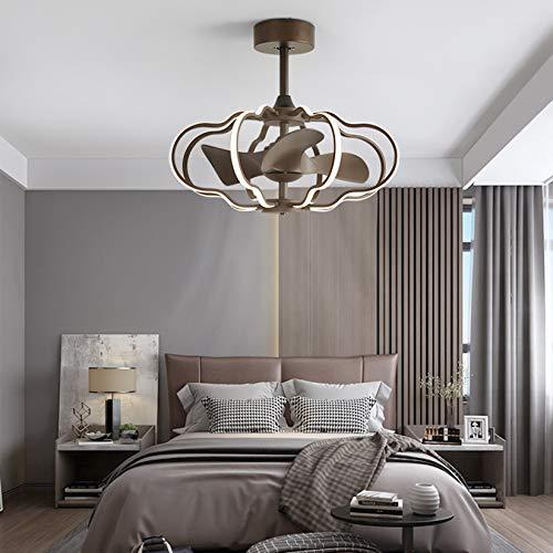 Ventilador de techo con luz, 100 W, LED, lámpara de techo con ventiladores, regulable, 25,5 pulgadas de ancho, lámpara de techo con mando a distancia, para salón, dormitorio, color marrón