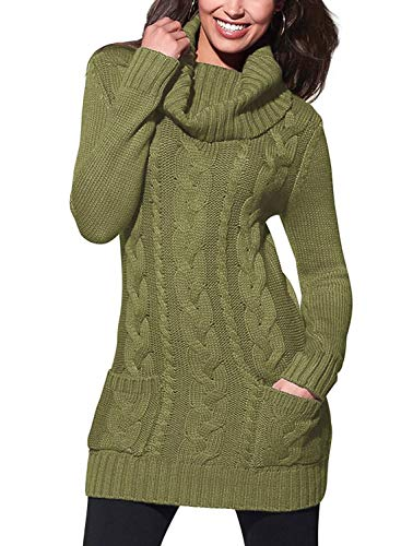 BLENCOT Green Ladies Womens Long Sweaters High Neck Elasticity Slim Fit Solid Ribbed Cable Knit Pullover Sweaters Dress Jumper Medium