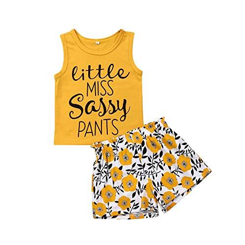 Kids Baby Girls Organic Cotton Floral Sleeveless Vest Tops + High Waist Shorts Denim Pants Baby Summer Clothes Set (Yellow, 3-4 Years)