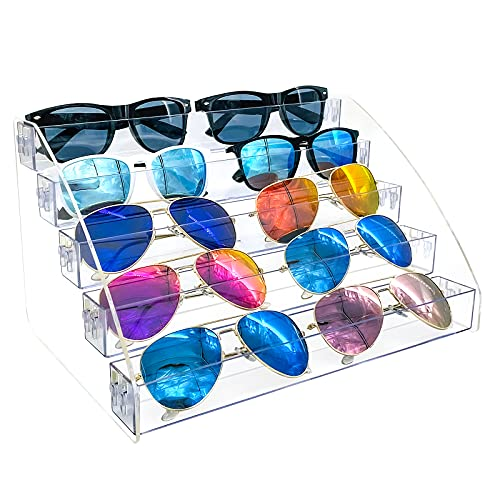 sunglasses set with cases MineDecor 10 Piece Plastic Sunglasses Organizer Clear Eyeglasses Display Case 5 Tier Eyewear Storage Tray Box For Glasses Tabletop Holder Stand