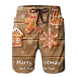 Men's Big and Tall Swim Trunks Beachwear Drawstring Summer Holiday,Funny Watercolor Cookies On Wooden Boards Delicious Xmas Pastry,3D Print Shorts Pants,Medium
