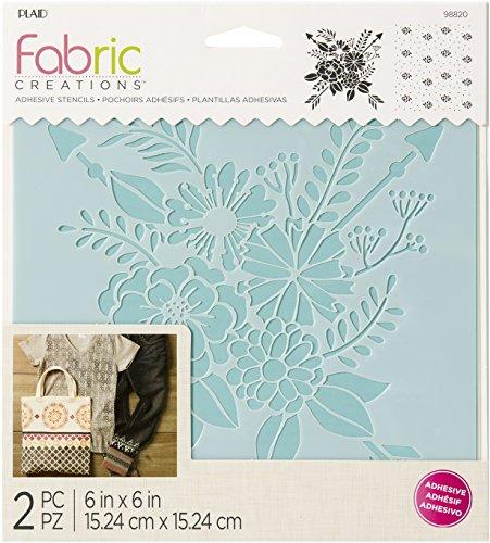 Plaid Fabric Creations Adh Stencil 6x6 2pc Floral