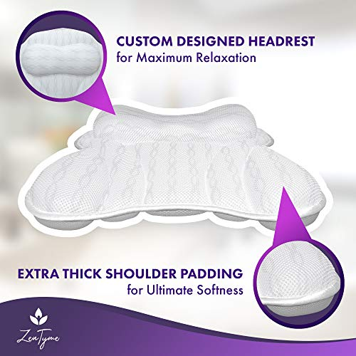 Bath Pillow Luxury Bathtub Pillow, Ergonomic Bath Pillows for Tub Neck and Back Support, Bath Tub Pillow Rest 3D Air Mesh Breathable Bath Accessories for Women