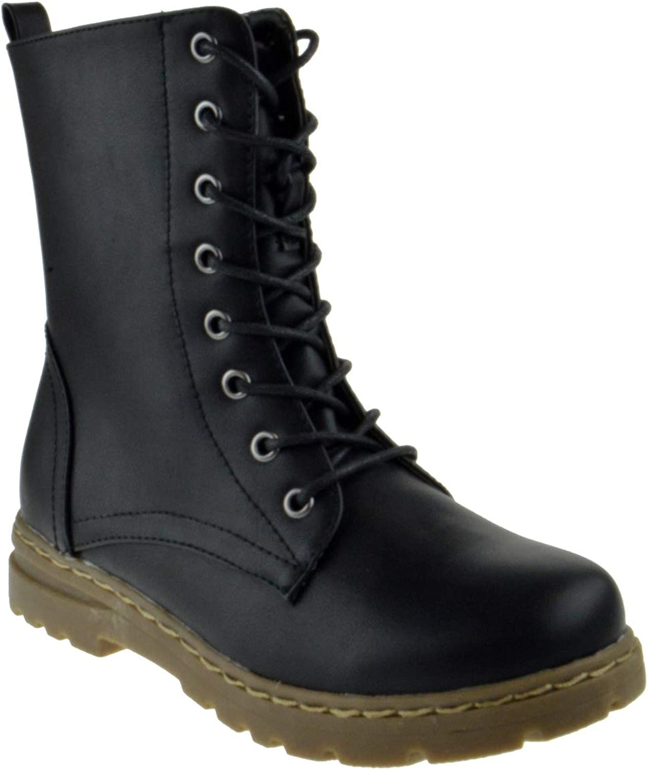 Nature Breeze Gwen 01 HI Womens Patent Milatary Lace Up Combat Boots
