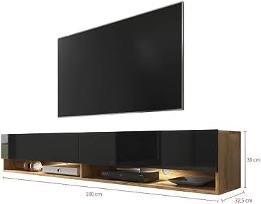 Selsey Wander - Meuble TV/Banc TV (chêne wotan/Noir Brillant, 180 cm, avec LED)