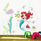 Kibi Pegatinas de Pared Sirena Ariel Vinilos Decorativos Princesa Mundo Submarino Adhesivos Pared Habitación Niña Bebés Infantiles Niños Dormitorio Salón Pegatinas de Pared La Pequeña Sirenita