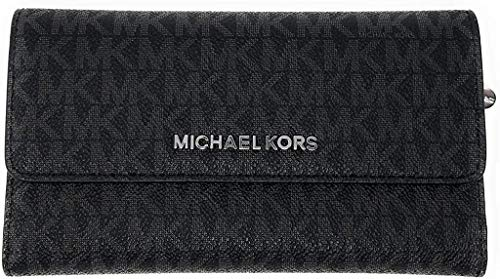 Michael Kors Jet Set Travel Large Trifold Leather Wallet (Black PVC 2018), Medium