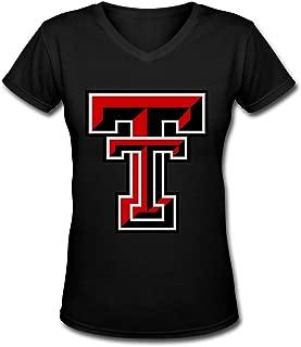 Dalef Women's Texas Tech Red Raiders 8 Element 100% Cotton T Shirt Size US Black