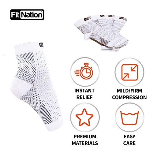 FIT NATION Plantar Fasciitis Support Socks for Weak Ankles, Arches, Heels (2 Pairs) Ultimate Compression Sleeves For Your Aching Feet, For Running - Get That Spring Back In Your Step - White L/XL