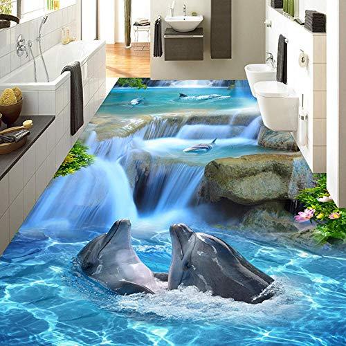 Benutzerdefinierte Foto Dolphin 3D Bodenbelag Aufkleber Wandbild 3D Boden Tapete Badezimmer Wohnzimmer PVC Selbstklebende wasserdichte Bodendekor Malerei 350x245cm