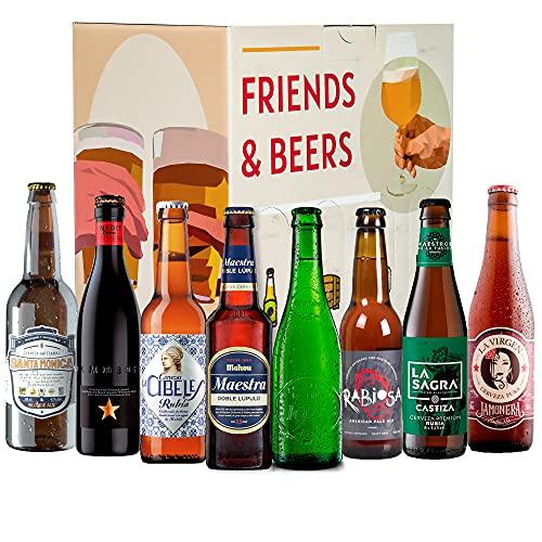 Caja de cervezas degustación - Pack ESPAÑA: Santa Monica, Inedit, Cibeles Rubia, Maestra, La Virgen, Alhambra 1925, Rabiosa y La Sagra Premium I Selección para regalar y disfrutar.