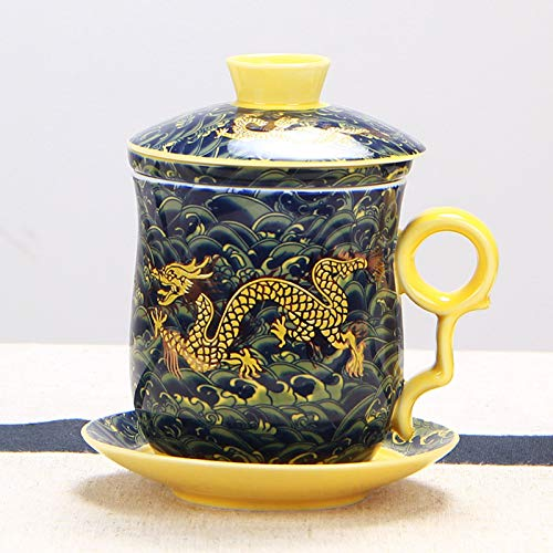 Porcelain Tea Cup,Chinese Dragon Pattern ​Tea-Mug with Strainer Infuser and Lid and Saucer Ceramic Tea Mug for Home Office