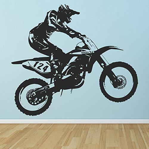 Motocross Motocicleta Dirt Moto Velocidad Casco deportivo Jugador fresco Stunt show Vinilo Etiqueta de la pared Arte Calcomanía Dormitorio Sala de estar Club Decoración del hogar Mural