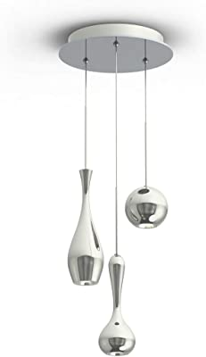 Modern Forms PD-ACID03R-PN Contemporary Modern LED Chandelier from Acid Collection in Polished Nickel Finish, 12.00 inches, Black