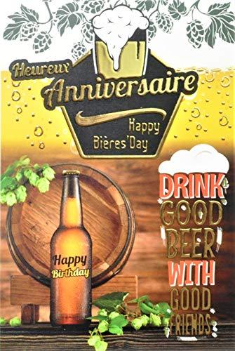 Biglietto di auguri per compleanno, giallo, oro dorato, birra, degustazione amici, bolle in schiuma