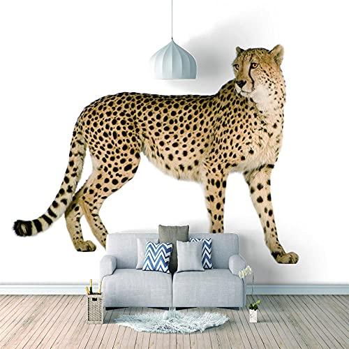 Papel Pintado 3D Foto Murales Leopardo blanco,Papel Tapiz Fotográfico Premium No-Tejido Mural Apto para Sala de Estar Dormitorio Decoración de la Papel Tapiz 400x280 cm - 8 tiras