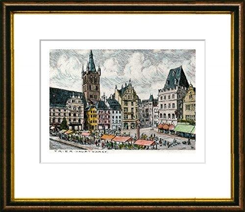 Kunstverlag Christoph Falk Handkolorierte Radierung Trier, Markt im Rahmen Braun-Gold hinter Passepartout