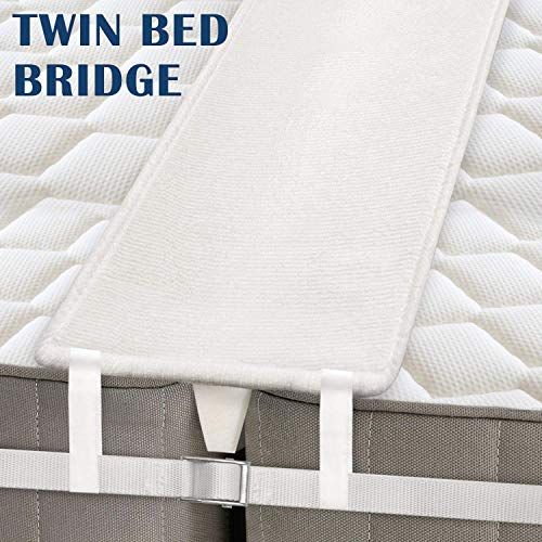 MDrebel Bed Bridge Twin to King Converter Kit - Memory Foam Filler Pad and Connector Strap - for Guests Stayovers & Family Gatherings