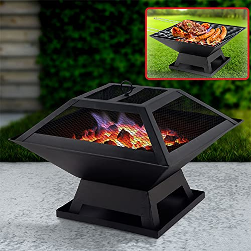 Vivo 3 In 1 Square Garden Fire Pit Outdoor Firepit BBQ Grill Garden Heater Great for Camping Garden Outdoors
