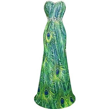 Angel-fashions Women's Chiffon Strapless Rhinestone Peacock Painting Prom Dresses XXLarge