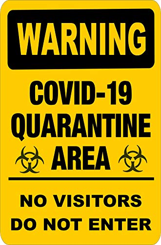 Warning Yellow Coronavirus COVID-19 Quarantine Area Sticker/Decal Window, Door Indoor/Outdoor 7' x 10' Public Service Notification