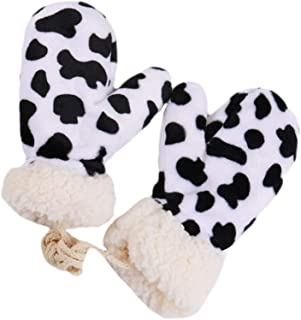 KESYOO Cow Print Thickened Mittens Winter Warm Gloves Plush Mittens Annimal Cows Gloves Hanging Neck Gloves Women Men