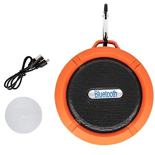 QAZW Mini Radio Estéreo De Manos Libres Altavoz Bluetooth Ducha Altavoz Portati Inalambrico Ventosas para Fijar en Pared Radios De Ducha a Prueba De Agua para Playa, Ducha, Viaje y Más,Orange