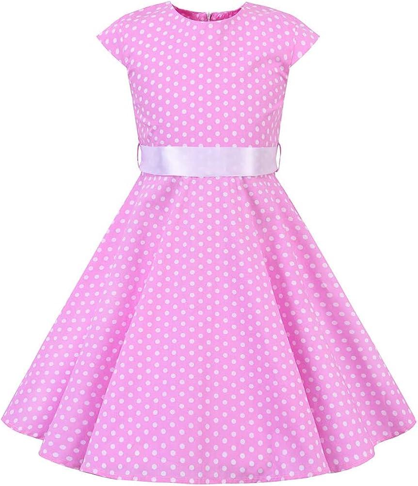 Girls Cap Sleeve Vintage Floral Print 50's Polka Dot Swing Dress Audrey Rockablilly Casual Boho A-line Tea Dress with Belt