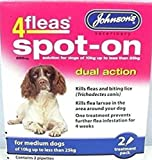 FREE POSTAGE & PACKING FOR MEDIUM ADULT DOGS OF MORE THAN 10KG AND LESS THE 25KG IN WEIGHT Johnsons 4fleas Dual Action Spot On for Dogs is an active treatment to help kill fleas and larvae. It is a highly effective, rapid, monthly spot-on treatment t...