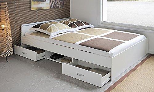 Jugendbett, Bett, 140x200cm mit 2 Bettkästen, weiss, Doppelbett, Leader 3.1 - 6