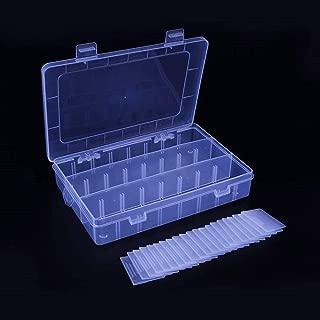 Honmofun Fishing Organizers and Storage Screw Box Screw Box Organizer Case Jewelry Box 24 Grid Plastic Storage Organizer Containers Jewelry Box Jewelry Box for Girls Fishing Box Pill Box