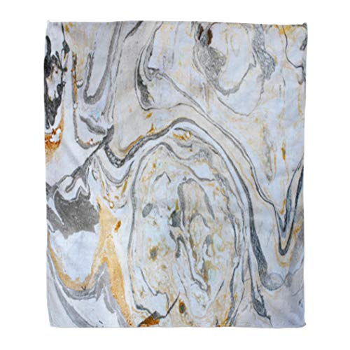 Golee Throw Blanket Abstract Marbling Ink Hand Black White Gold Silver and Gray 60x80 Inches Warm Fuzzy Soft Blanket for Bed Sofa