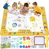 Peradix Acqua Doodle Mat,100*80cm Tappetino Doodle da Disegno Tappeto Magico Bambini con 5 Penne Magiche & 12 Stampi & Libro di Pittura,Doodle Tappeto Magico Grande Regalo Giocattoli Educativi per 3+