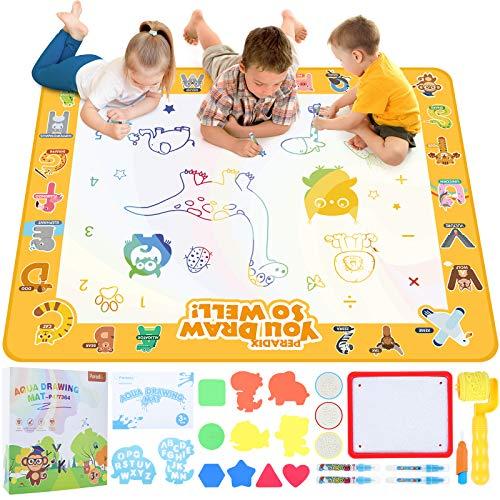Peradix Wasser Doodle Matte 100*80cm, Kinder Zaubertafel Malmatte mit 5 Stifte,1 Bilderbuch,16 Zeichenwerkzeuge, Wiederverwendbare Wasser Malmatte für in-/Outdoor
