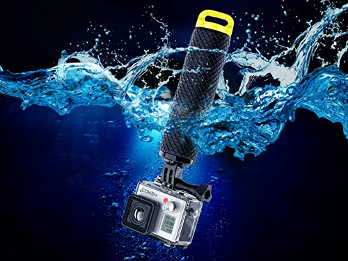 Waterproof Floating Hand Grip Compatible with GoPro Hero 9 8 7 6 5 4 3+ 2 1 Session Black Silver Camera Handler & Handle Mount Accessories Kit for Water Sport and Action Cameras (Yellow)