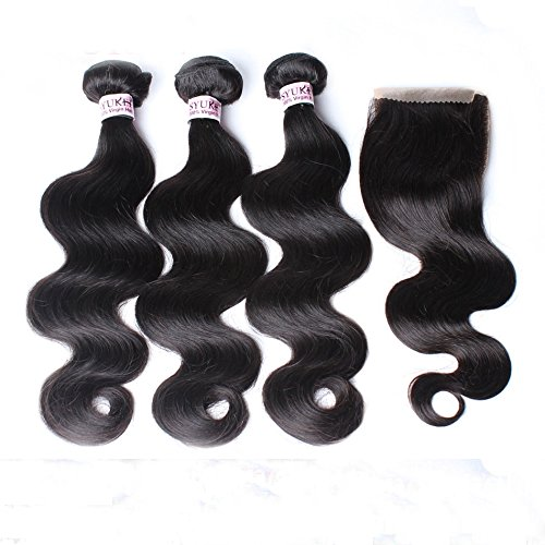 YummyHair 100% Unprocessed Virgin Peruvian Hair Extensions 3 Bundles Wefts with Closure Natural Color (BodyWave 20 22 24 Inch with 16 Inch Closure)