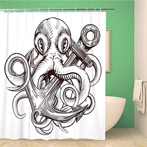 Topyee Shower Curtain Original of Tattoo Octopus Holding Ships Anchor in Vintage 72x78 Inches Waterproof Polyester Bathroom Decor Curtain Set with Hooks