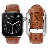 iBazal Cuero Correas Compatible con iWatch Series 6 SE 5 4 Series 3 2 1 Correa 44mm 42mm Piel Pulseras Brazaletes Bandas con Hebilla Reemplazo Reloj Watch Bands - Marrón 42/44