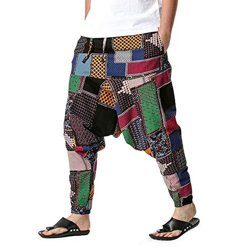 whitzard Herren Haremshose Hiphop Skater Aladinhose Baumwolle High Waist Lose Yoga Hose Ethnisch Goa Lose Freizeithose für Sommer (B, XXL)