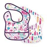 Bumkins Starter Bib, Baby Bib Infant, Waterproof Fabric, Fits Infants and Babies 3-9 Months – Watercolors & Brushstrokes (2-Pack)