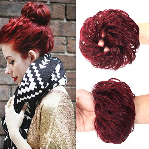 100% Human Hair Bun Extensions Messy Chignon Hair Pieces Scrunchy Scrunchie Updo Hairpiece Hair for Women Kids Donut Ponytail Hairpieces (Wine Red/99J Burgundy)